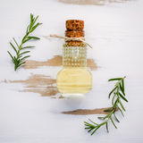 Bottiglia di olio d'oliva vergine extra con i rosmarini Ramoscelli del rosema Fotografie Stock Libere da Diritti