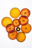 Bottiglia di olio essenziale con le fette dell'arancia sanguinella fotografie stock libere da diritti