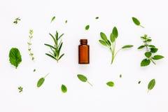 Bottiglia di olio essenziale con salvia di erbe fresca, rosmarino, limone Immagini Stock Libere da Diritti