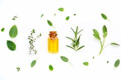 Bottiglia di olio essenziale con salvia di erbe fresca, rosmarino, limone Fotografie Stock