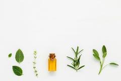 Bottiglia di olio essenziale con salvia di erbe fresca, rosmarino, timo Immagini Stock