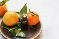 Bottiglia di olio essenziale dei mandarini, olio dell'agrume di aromaterapia con i frutti del mandarino in piatto di legno fotografie stock libere da diritti