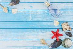 Bottiglia di Parfume delle decorazioni delle conchiglie e stella di mare sul blu e su W Fotografia Stock