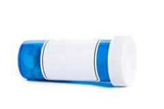 Bottiglia di pillola blu Fotografia Stock