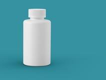 Bottiglia di plastica bianca su verde di mare Immagini Stock Libere da Diritti