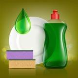 Bottiglia di plastica con sapone per lavare gli utensili, piatto e spugna illustrazione vettoriale