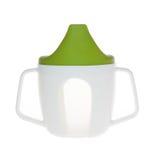 Bottiglia di plastica della tazza per i bambini, la tazza ed il coperchio verde immagine stock libera da diritti