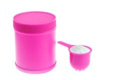 Bottiglia di plastica rosa del detersivo Fotografia Stock
