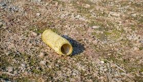 Bottiglia di plastica vuota abbandonata sulla spiaggia Fotografia Stock
