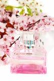Bottiglia di profumo con la priorità bassa del fiore di ciliegia. Fotografie Stock