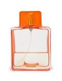 Bottiglia di profumo trasparente isolata su bianco Fotografia Stock Libera da Diritti