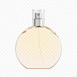 Bottiglia di profumo trasparente realistica, illustrazione di vettore Immagini Stock