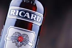 Bottiglia di Ricard, un aperitivo di pastis Immagine Stock