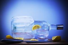 Bottiglia di rovesciamento di vodka Fotografie Stock