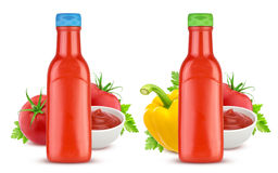 Bottiglia di salsa ketchup isolata su fondo bianco Fotografie Stock