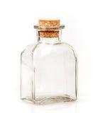 Bottiglia di vetro in bianco con il tappo del sughero Fotografia Stock