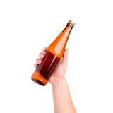 Bottiglia di vetro a disposizione immagini stock