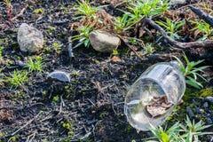 Bottiglia di vetro rotta su terra bruciata Fotografie Stock Libere da Diritti