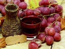 Bottiglia di vimini casalinga ed uva del jucie naturale rosso Immagini Stock
