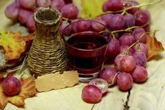Bottiglia di vimini casalinga ed uva del jucie rosso Fotografia Stock Libera da Diritti
