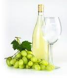 Bottiglia di vino bianco, bicchiere di vino ed uva Immagini Stock