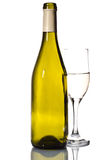 Bottiglia di vino bianco e di vetro Fotografia Stock Libera da Diritti