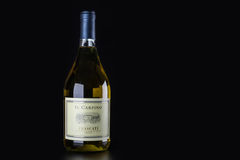 Bottiglia di vino bianco su un fondo nero Immagini Stock Libere da Diritti