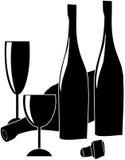 Bottiglia di vino, bicchiere di vino e sughero di vetro Immagine Stock Libera da Diritti