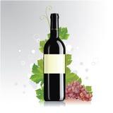 Bottiglia di vino con il contrassegno in bianco illustrazione di stock