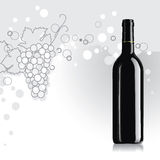 Bottiglia di vino con l'uva illustrazione vettoriale
