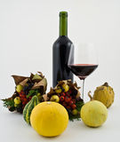 Bottiglia di vino con la frutta di autunno fotografia stock