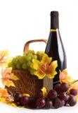 Bottiglia di vino con la merce nel carrello dell'uva Fotografie Stock Libere da Diritti