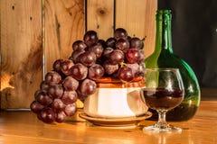 Bottiglia di vino di natura morta Fotografia Stock