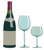 Bottiglia di vino e vetro - illustrazione Immagini Stock Libere da Diritti