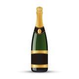 Bottiglia di vino realistica con la stagnola di oro Fotografia Stock