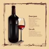 Bottiglia di vino rosso con vetro Fotografia Stock Libera da Diritti
