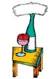 Bottiglia di vino servita Immagini Stock