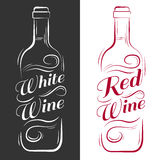 Bottiglia di vino vino bianco, vino rosso Fotografie Stock