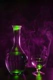 Bottiglia di vodka con vetro Fotografia Stock Libera da Diritti