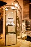 Bottiglia domestica dell'aroma su esposizione Fotografia Stock Libera da Diritti