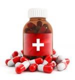 Bottiglia e pillole della medicina Fotografia Stock Libera da Diritti