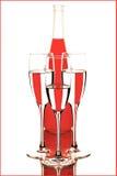 Bottiglia e vetri Immagine Stock