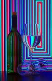 Bottiglia e vetri di vino Fotografie Stock Libere da Diritti