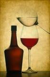 Bottiglia e vetri di vino Immagine Stock
