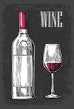 Bottiglia e vetro con vino Illustrazione incisa annata nera su fondo scuro Per l'etichetta, manifesto, web illustrazione vettoriale