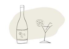 Bottiglia e vetro del coctail Fotografia Stock