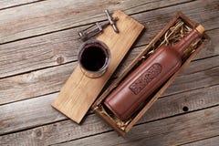 Bottiglia e vetro del vino rosso Immagine Stock Libera da Diritti
