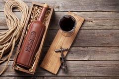 Bottiglia e vetro del vino rosso Immagini Stock Libere da Diritti