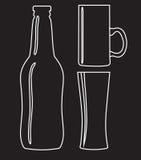 Bottiglia e vetro della birra - vector l'illustrazione Fotografia Stock Libera da Diritti