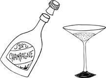 Bottiglia e vetro di Champagne Fotografia Stock
